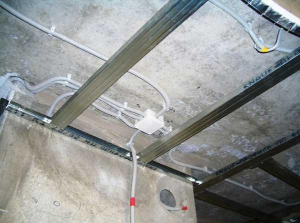 Монтаж кабеля в гофре по потолку
